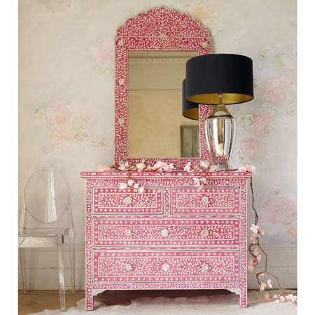 Pink Mother Of Pearl Inlay Chest Of Drawers, Graham and Green