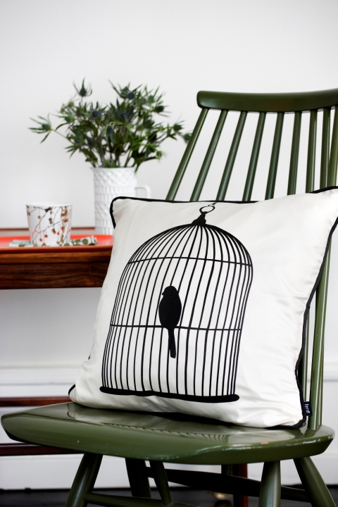 Bird cage cushion, £62, Rose and Grey