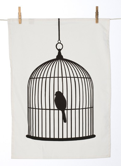 Bird cage tea towel, £9.50, Rose and Grey