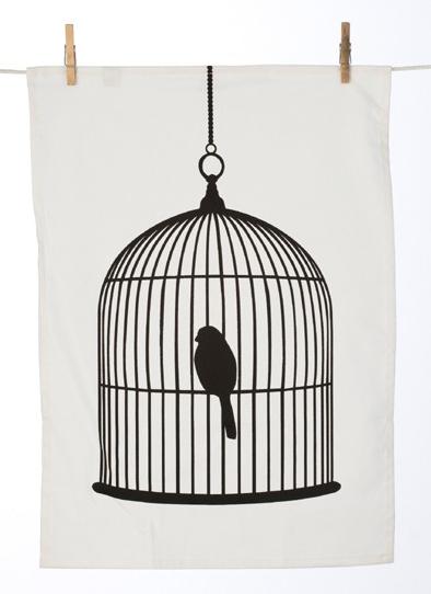 Bird cage tea towel, £9.50, Rose and Grey