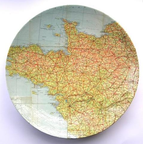 Bespoke map platter, £125, Bombus