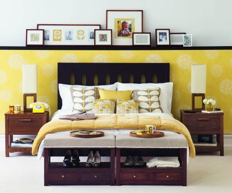yellow retro bedroom