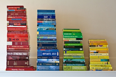 colour coded book piles