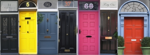 House numbers on doors