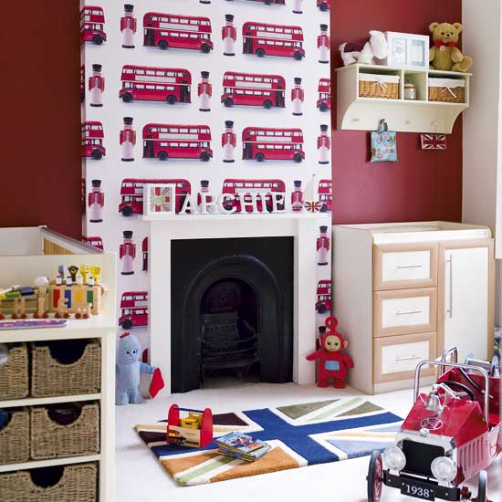 wallpaper kids bedroom. One for the oys – I love the