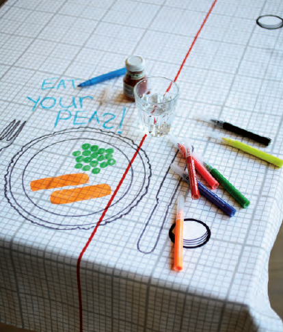 Keep your eyes peeled for graphpaperpatterned cotton 39Doodle 39 tablecloths