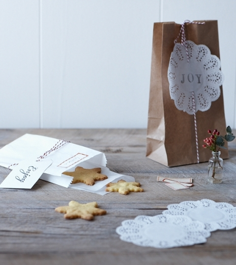 kraft bag, bakers twine, mince pies, Christmas ideas, Christmas, pop-up shop, Ideal Home, The Original pop-up shop, doilie, handmade