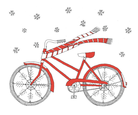 Winter bike Christmas card, Etsy, Christmas, stationary, ideal home, homeshoppingspy, alice humphrtys