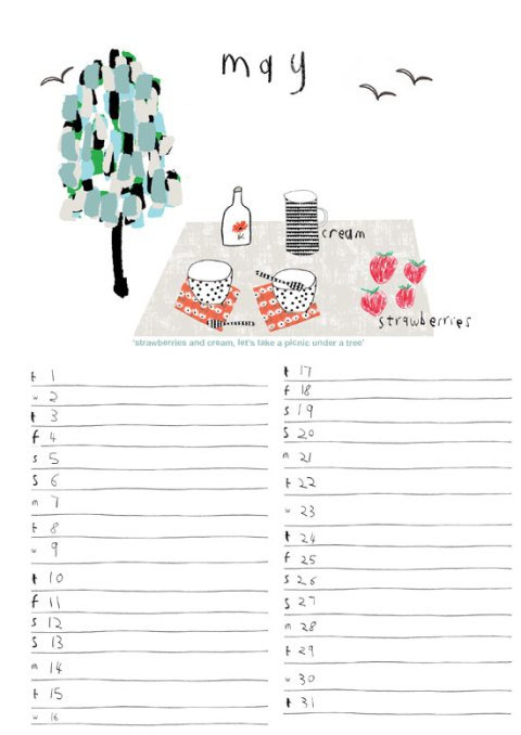 lisa stickley, 2012 calendar, stationary, illustration, ideal home, homeshoppingspy