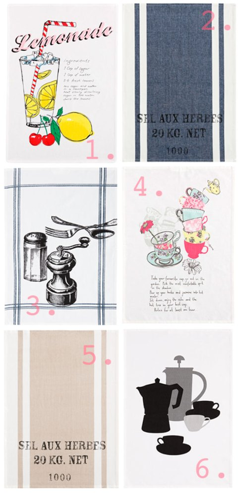 H&M SS 2012 tea towels, H&M, homeware, kitchen textiles, tea towels, kitchen, print, ideal home, homeshoppingspy, alice humphrys