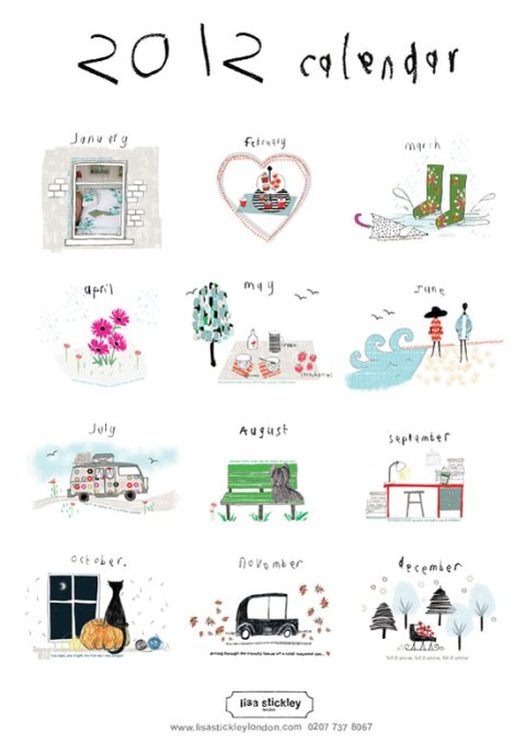 lisa stickley, 2012 calendar, stationary, ideal home, homeshoppingspy, alice humphrys
