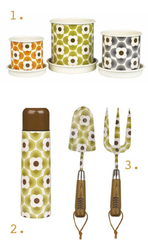 Orla Kiely, wild & wolf, garden accessories, retro print, enamel, ideal home, spring 2012, preview, homeshoppingspy, alice humphrys