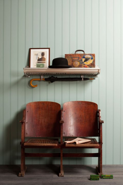 London Transport Museum luggage racks, reclaimed, metropolitan line, interiors, storage, salvage, antique, ideal home, alice humphrys, homeshoppingspy