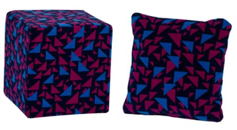 Cube and cushion in Moquette upholstery,metropolitan line, recycled,made to order, moquette,london underground,ideal home, homeshoppingspy, alice humphrys