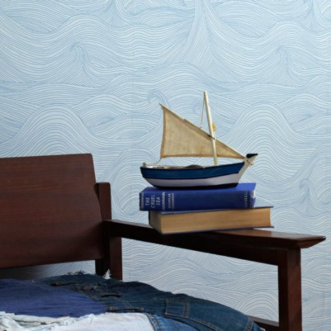 Seascape wallpaper, Summer by Abigail Edwards, coastal, Spring Summer, interiors, wallpaper, wallpaper trends, abigail edwards, ideal home, homeshoppingpy, alice humphrys