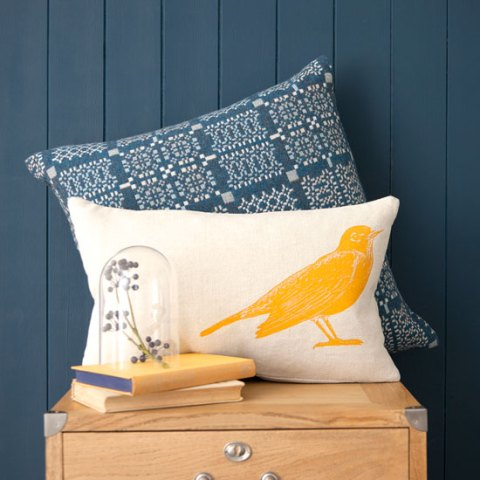 Rowan and Wren, homeware, interiors, decor, bird cushion, Spring collection, online, ideal home, homeshoppingspy, alice humphrys