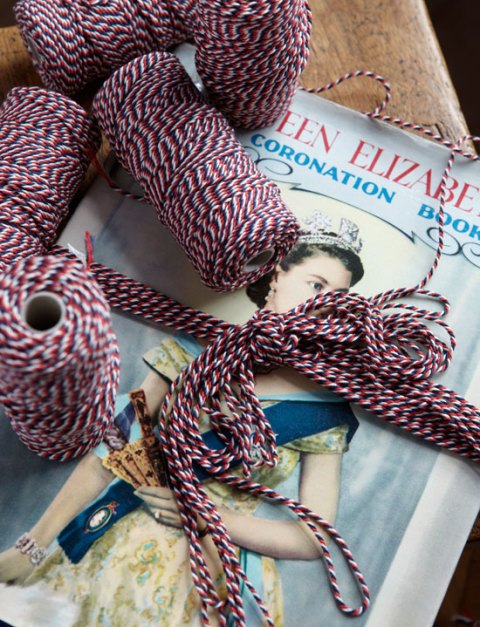 Red, white and blue cotton string, RE, The Queen's Jubilee, craft, twine, interiors, DIY, homespun, ideal home, homeshoppingpspy, alice humphrys