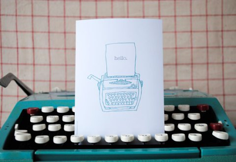 The Green Gables, Vintage Typewriter card, typewriter, vintage, illustrations, eco-friendly, sustainable, The Green Gables, ideal home, homeshoppingspy, alice humphrys
