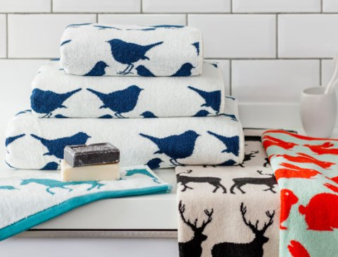 Anorak, anorak towels, new, Spring Summer, towels, prints, stags, robins, deer, horses, Laurie Roberston, ideal home, homeshoppingspy, alice humphrys