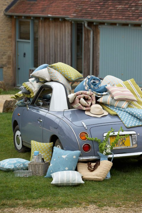 Vanessa Arbuthnott, Swedish Collection, textiles, hand print, mid-century, Scandi-style, Gustavian, Nissan Figaro, Swedish design, country decorating, ideal home, alice humphrys