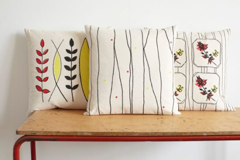Random Retail, festival collection, Joy Joliffe, cushions, screen print, mid-century, handmade, isle of wight, soft furnishings, living room, ideal home, homeshoppingspy, alice humphrys